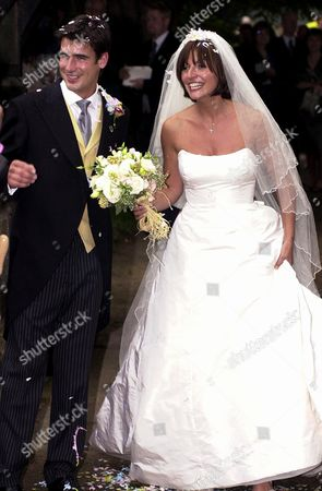 DAVINA MCCALL AND HUSBAND MATTHEW ROBERTSON AFTER THEIR WEDDING IN EASTNOR, HEREFORDSHIRE..