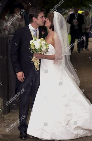 DAVINA MACALL AND HUSBAND MATTHEW ROBERTSON AFTER THEIR WEDDING IN EASTNOR, HEREFORDSHIRE..