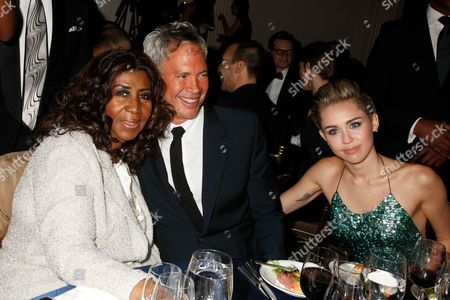 Aretha Franklin, Robert Duffy and Miley Cyrus