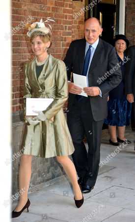 Stock Picture of Jamie Lowther-Pinkerton and his wife leave the Chapel Royal in St James's Palace