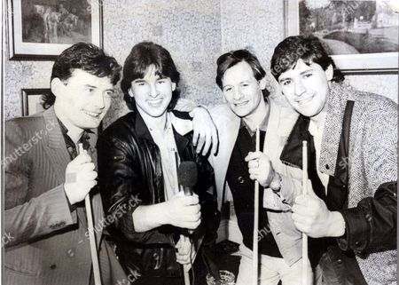 Alex Higgins - Snooker Player (died 24th July 2010) Snooker Rockers.....l-r: Jimmy White Kirk Stevens Alex Higgins And Tony Knowles Took Time Off From The World Snooker Championships In Sheffield Yesterday To Go Into The Record Business. The New Group Called Four Away Are Hoping Their Debut Single 'the Wanderer' Could Lead To A Big Break In The Pop World.... **original Print Held In Kensington** Pkt3968-289135.