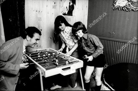 Actor Tony Selby Playing Table Football With His Children.