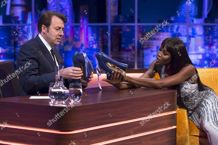 Jonathan Ross and Naomi Campbell with the Vivienne Westwood 'Super Elevated Ghillie' platform shoes that she famously fell over in