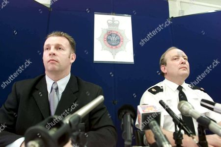 MOCHRIE FAMILY MURDERS,BARRY,WALES-Detective Supt. Kevin O'Neill (left) and Supt. Colin Jones at this afternoons press conference at Barry Police station