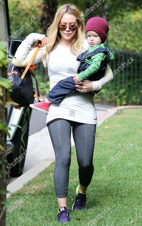 Stock Photo of Hilary Duff and Luca Cruz Comrie
