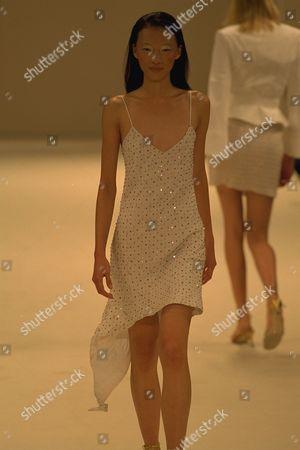 Model On Catwalk In Ben Delisi Designs For London Fashion Week 1997.