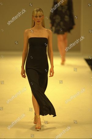 Editorial picture of Model On Catwalk In Ben Delisi Designs For London Fashions Week 1997.