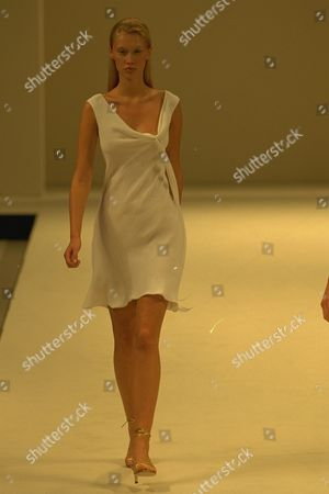 Stock Photo of Model On Catwalk In Ben Delisi Designs For London Fashions Week 1997.