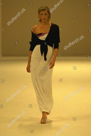 Editorial image of Model On Catwalk In Ben Delisi Designs For London Fashions Week 1997.