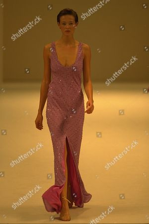 Editorial photo of Model On Catwalk In Ben Delisi Designs For London Fashions Week 1997.