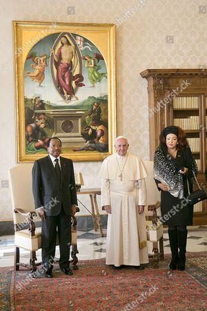 Cameroonian President Paul Biya, Pope Francis I and Chantal Biya