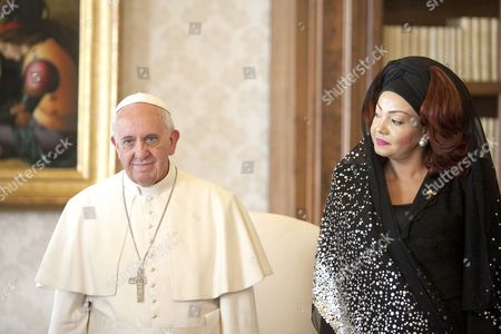 Pope Francis I and First Lady of Cameroon Chantal Biya
