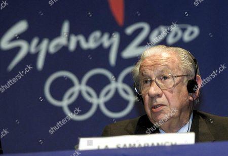 OLYMPIC GAMES 2000- JUAN ANTONIO SAMARANCH PRESIDENT OF THE IOC, INTERNATIONAL OLYMPIC COMMITTEE PRESS CONFERENCE,SYDNEY AUSTRALIA