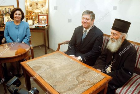 Yugoslavia's exiled Crown Prince Alexander Karadjordjevic (L) speaks with the Serbian Orthodox Patriarch Pavle (R), Yugoslavia Serbia