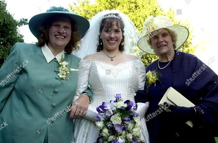 3 generations of women who were married on the 1st November (two more generations have since died who were also married on the 1/11) (l-r) Pauline Matthews, her mother Joy Marks and finally Cara Syred ne Matthews on her wedding day nr. Midhurst , BRITAIN