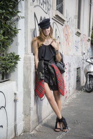 Chiara Ferragni ; Blonde Salad; Blogger; Preen jacket; Acne dress; Margiela shoes Sophie Hulme bag;