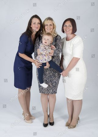 (L-R) Lucy Marks, Katy Slade and baby Beatrix and Jamie Allan