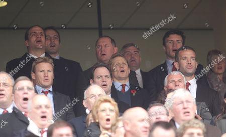 England 2003 World Cup winning squad are reunited at Twickenham and sing the National Anthem - L to R from back - Martin Johnson, Stuart Abbott, Danny Grewcock, Kyran Bracken, Richard Hill, Josh Lewsey, Jason Leonard, Martin Corry
