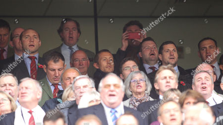 England 2003 World Cup winning squad a reunited at Twickenham and sing the National Anthem L to R from back (3rd Left) - Ben Kay. Jason White (Looking down). Jonny Wilkinson, Mark Regan, Paul Grayson & Trevor Woodman