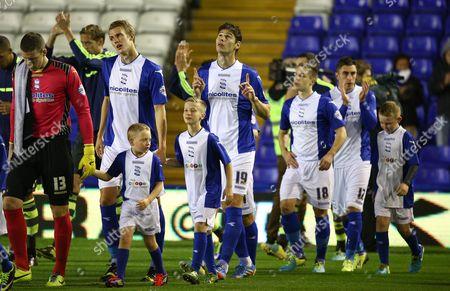 Nikola Zigic of Birmingham City prays as the teams walk out