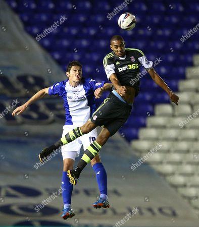 Nikola Zigic of Birmingham City and Steven N'Zonzi of Stoke City in action