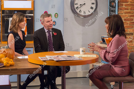 Carla Buzasi and Andrew Pierce with Lorraine Kelly