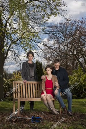 Tamsin Greig as DC Maggie Brand, Katherine Kelly as Claire Reid and Darren Boyd as Daniel Reid.