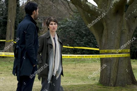 Arsher Ali as DS Vinesh Roy and Tamsin Greig as DC Maggie Brand.
