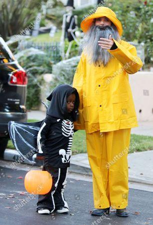 Stock Picture of Sandra Bullock and son Louis Bardo Bullock