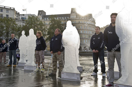 A Battalion Of Statues Honouring Wounded Servicemen And Women At Trafalgar Square Ahead Of Heroes Day. Warren Richardson Ben Deakin Karl Hinett Mark Lanchberry Arron Dindyal And Chris Fleet.