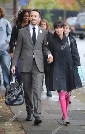 Trenton Oldfield 35 Arrives At Isleworth Crown Court With His Wife Deepa Naik. He Was Sentenced To 6 Months In Jail For Attempting To Ruin The Putney Boat Race This Year.