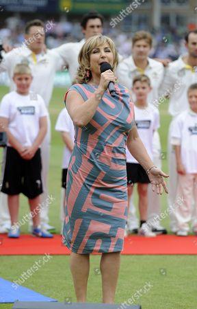 Lesley Garrett Singing The National Anthem First Investec Ashes Test Match Trent Bridge Day 1