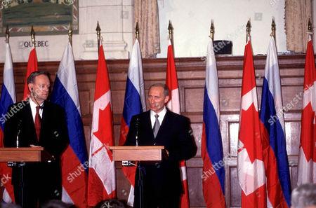 JEAN CHRETIEN CANADIAN PRIME MINISTER WITH VLADIMIR PUTIN RUSSIAN PRESIDENT , OTTAWA, CANADA
