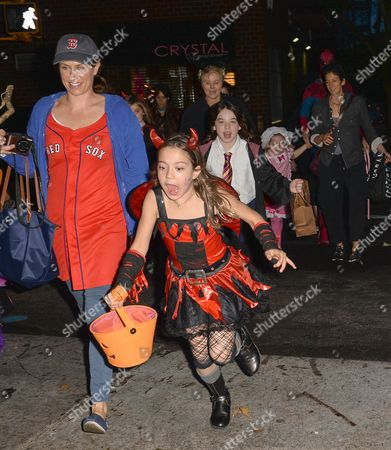 Editorial photo of Deborra-Lee Furness and children out and about on Halloween, New York, America - 31 Oct 2013