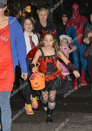 Editorial image of Deborra-Lee Furness and children out and about on Halloween, New York, America - 31 Oct 2013