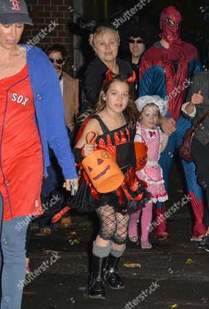 Editorial picture of Deborra-Lee Furness and children out and about on Halloween, New York, America - 31 Oct 2013