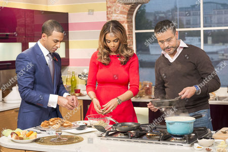 Marvin and Rochelle Humes with Atul Kochhar
