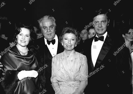 Albert 'Cubby' Broccoli and wife Dana with  Louis Jourdan and wife