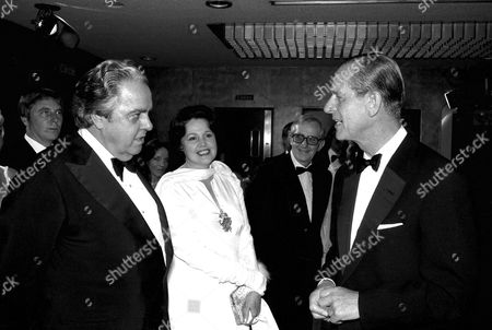 "ALBERT ' Albert Broccoli AND WIFE DANA AND Prince Philip AT THE ""MOONRAKER"" PREMIERE. JUN 79"