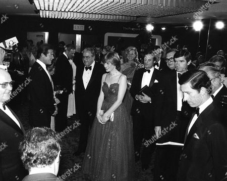 "ROGER MOORE, ALBERT BROCCOLI, LADY DIANA SPENCER,PRINCE CHARLES AT THE ""FOR YOUR EYES ONLY"" PREMIERE 24/06/81"