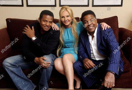 Stock Picture of Jackie Jackson, Natalia Shmarenkova Zahoor and Tito Jackson