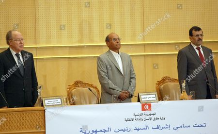 Tunisia's President Moncef Marzouki (C), Speaker of the National Constituent Assembly Mustapha Ben Jaafar (L) and Prime Minister Ali Laarayedh