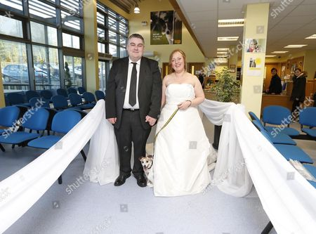 Editorial picture of Couple get married at Dogs Trust Rehoming Centre with their three dogs in attendance, Ireland - 01 Nov 2013