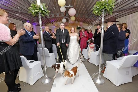 Graham Farrell and Catherine Keating walk down the aisle with their pet dogs Poppy, Cara and Renny