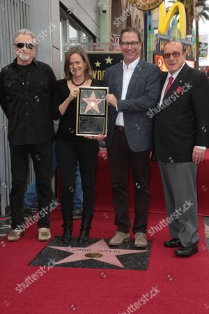 Kris Kristofferson, Laura Joplin and Michael Joplin with Clive Davis