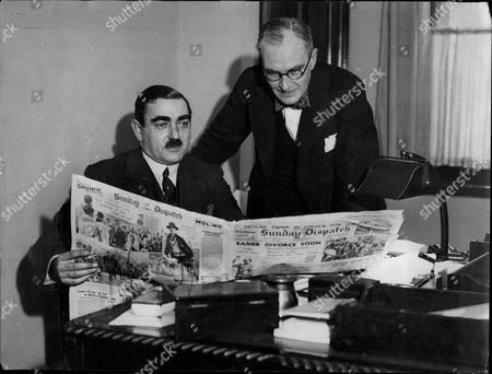 Mr Hubert Meredith Financial Editor Of Associated Newspapers 9seated) With Mr Colin Brooks City Editor Of The Sunday Dispatch.