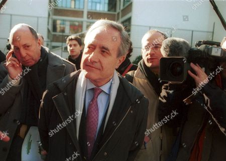 """Paris mayor Jean Tiberi leaving the """"clos des blancs Manteaux"""" in the Marai area, where a garden dedicated to the memory of Princess Diana was inaugurated this morning , Paris , France - 14/02/01"""