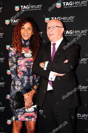 Noemie Lenoir and TAG Heuer CEO Stephane Linder