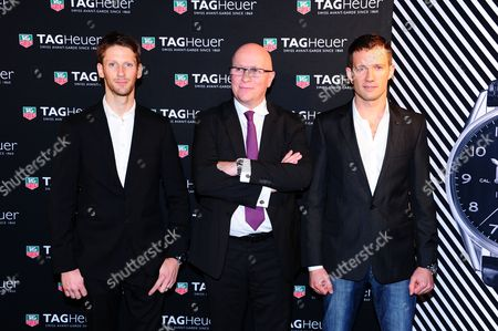 Romain Grosjean, TAG Heuer CEO Stephane Linder and Sebastien Ogier