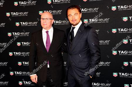 TAG Heuer CEO Stephane Linder and Leonardo DiCaprio